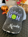 Volleyball hats and jewelry | Volleyball mom | Womens Embroidered distressed trucker caps | Personalize | Volleyball hair don't care. - Stacy's Pink Martini Boutique