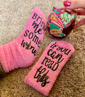 Socks { If you can read this bring me some wi ne } Pink • Fluffy • - Stacy's Pink Martini Boutique