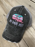 Camping hats { RV there yet? } Gray with pink & teal or gray with blue and pink. Embroidered distressed trucker cap with adjustable Velkro & hole for pony. Unisex. Vintage camper. Camping. - Stacy's Pink Martini Boutique