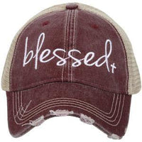 Blessed hats •• Pink, teal or wi ne •• Embroidered trucker cap - Stacy's Pink Martini Boutique