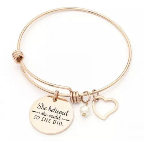 Bracelets { She believed she could so she did } Silver or gold. Heart charm. Pearl. Bangle. - Stacy's Pink Martini Boutique