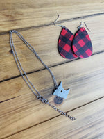 Earrings • Buffalo plaid • White/black • Red/black • Wholesale orders welcome. - Stacy's Pink Martini Boutique