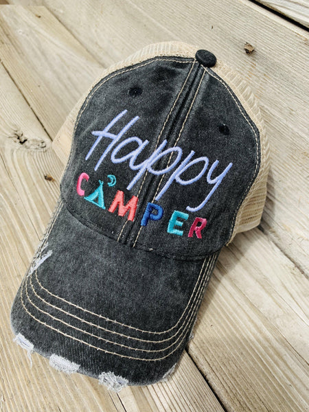 Camping hats! • Happy Camper • 4 colors - Stacy's Pink Martini Boutique