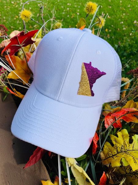 Hats { Minnesota Vikings } White structured hat with mesh back and purple and gold glitter state of Minnesota. Adjustable snap back cap. Unisex. - Stacy's Pink Martini Boutique