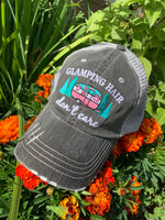 Glamping hats | Camping | Glamping hair dont care | Im a happy camper | Camping hair dont care | Embroidered gray womens trucker cap | Personalize with campground-name-dates - Stacy's Pink Martini Boutique