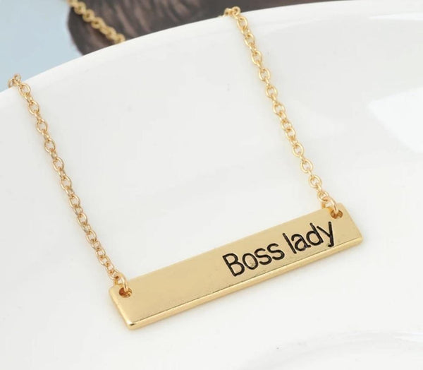 Necklace { Boss lady } Silver or gold • 19 inches - Stacy's Pink Martini Boutique
