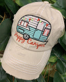 Happy camper • Hats • Embroidered - Stacy's Pink Martini Boutique