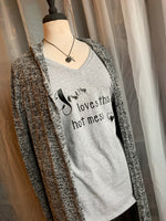 Shirt { Jesus loves this hot mess } Vneck. Gray, black, purple. - Stacy's Pink Martini Boutique