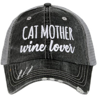 Cat hats  Cat mother wine lover Womens embroidered trucker cap - Stacy's Pink Martini Boutique