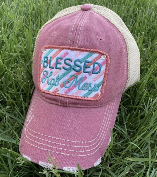 Blessed hats! Grateful • Blessed hot mess • Simply blessed | Embroidered distressed adjustable trucker caps - Stacy's Pink Martini Boutique