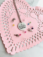 Blessed mom jewelry | Necklace | Stainless steel ~ Customize with birthstones and initials - Stacy's Pink Martini Boutique
