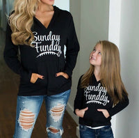 Hoodie with FREE earrings! { Sunday funday } Red or black • Lightweight • Front pocket • Kids and adults • Unisex - Stacy's Pink Martini Boutique