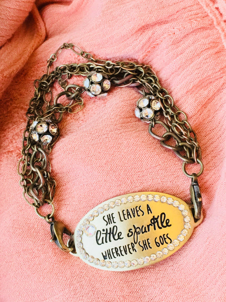 Bracelet { She leaves a little sparkle wherever she goes } Brown leather wrap.gold.rhinestones. FREE shipping in US! - Stacy's Pink Martini Boutique