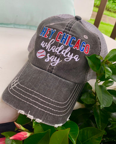 Hat, scarf, necklace, bracelet, mittens { Hey Chicago whaddya say } Baseball. Chicago Cubs. - Stacy's Pink Martini Boutique
