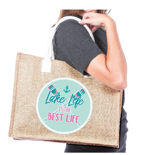 Tote bag | Lake life is the best life | Jute | Pocket inside - Stacy's Pink Martini Boutique