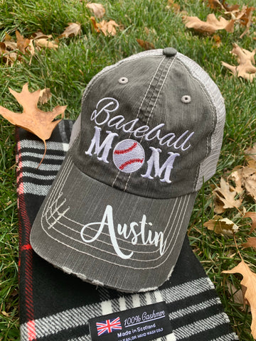 Mom hats | Baseball mom • Embroidered, women's, distressed, trucker cap | Personalize! - Stacy's Pink Martini Boutique