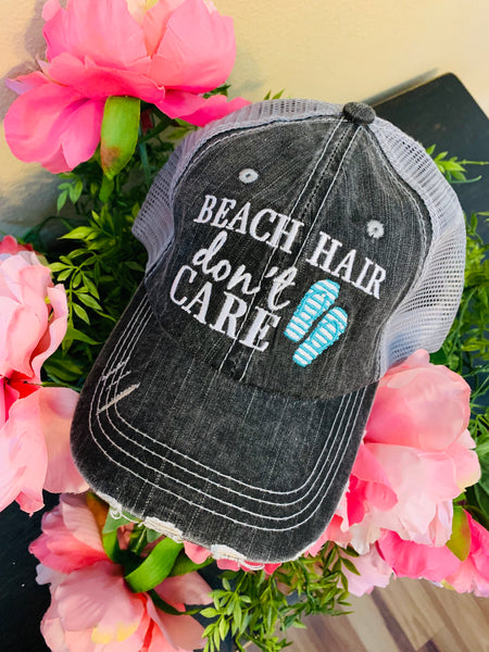 Hat { Beach hair don't care } Teal or pink flip flops. Embroidered, distressed, trucker cap. Women's. Sandals. - Stacy's Pink Martini Boutique