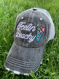 Hat { Feelin' Beachy } Gray, pink or teal. Embroidered distressed trucker cap with adjustable Velcro and hole for pony. Cocktail with lime and umbrella. Customize with names, numbers, beach names. - Stacy's Pink Martini Boutique