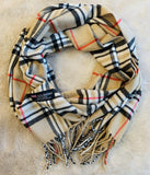 Scarf • Camel vintage Check • Designer inspired plaid • Brown red white Black • Unisex - Stacy's Pink Martini Boutique