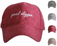 Hats { Goal digger } Embroidered caps. Unisex. Ultra suede. Red, black, brown, gray. - Stacy's Pink Martini Boutique