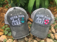 Hats OR Tanks { RIVER hair don't care } Hats with pink or blue anchor. Tanks in coral, black, blue and teal.