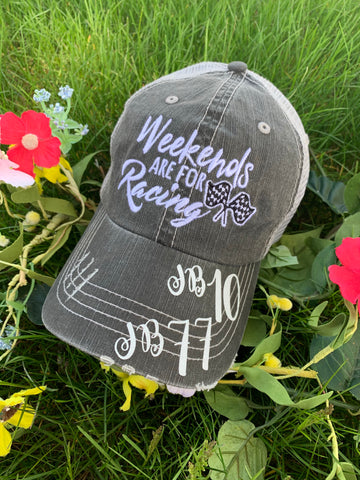 Personalized Racing hats Weekends are for racing Race hair dont care Raceday is the best day Unisex embroidered gray trucker caps - Stacy's Pink Martini Boutique