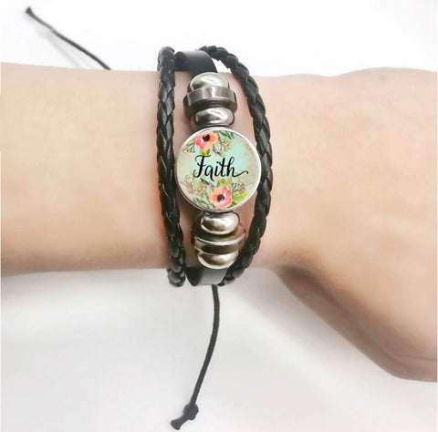 FAITH jewelry | Bracelet | Womens | Inspirational | Black Leather • Adjustable 7 - 10 inches • Snap charm ~ Wholesale orders. - Stacy's Pink Martini Boutique