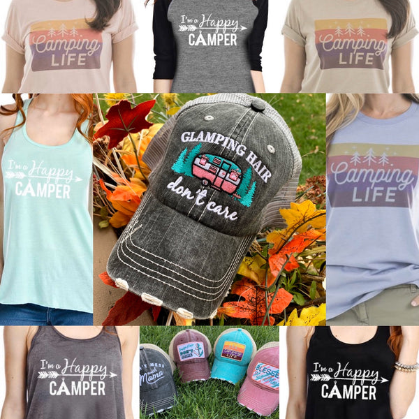 Hats or tanks { I'M A HAPPY CAMPER } { Camping hair don't care } { Camping life } { Glamping hair don't care } Embroidered distressed gray unisex trucker caps. Adjustable