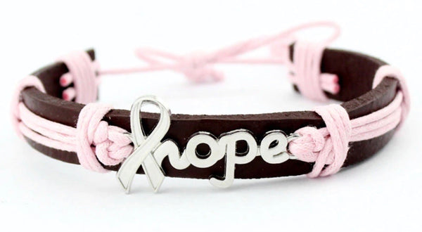 Hope bracelet | Silver hope breast cancer ribbon charm | Pink and brown leather | - Stacy's Pink Martini Boutique