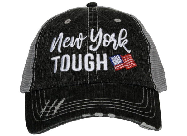New York hats | New York Strong ~ New York Tough ~ Embroidered ~ Distressed trucker cap