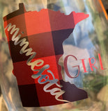 Wine glasses { Minnesota girl } Handmade by Stacy. Wholesale available. - Stacy's Pink Martini Boutique