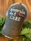 Motorcycle hats | Biker hair don't care | Embroidered trucker cap - Stacy's Pink Martini Boutique