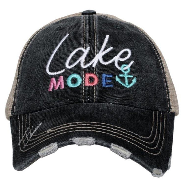 Lake mode hats • Embroidered distressed trucker - Stacy's Pink Martini Boutique