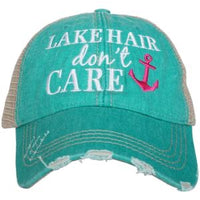 Lake hats! Kids-Adults•Lake hair dont care•Embroidered trucker caps•Lake life-Anchors - Stacy's Pink Martini Boutique
