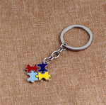 Keychain { Autism } Puzzle pieces • Silver • $5 jewelry - Stacy's Pink Martini Boutique