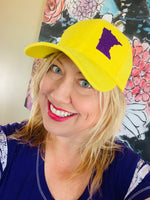 Hat { Vikings } Minnesota • Adjustable snapback • Gold with purple glitter state of Mn • Trucker cap • Unisex • Other colors available. - Stacy's Pink Martini Boutique
