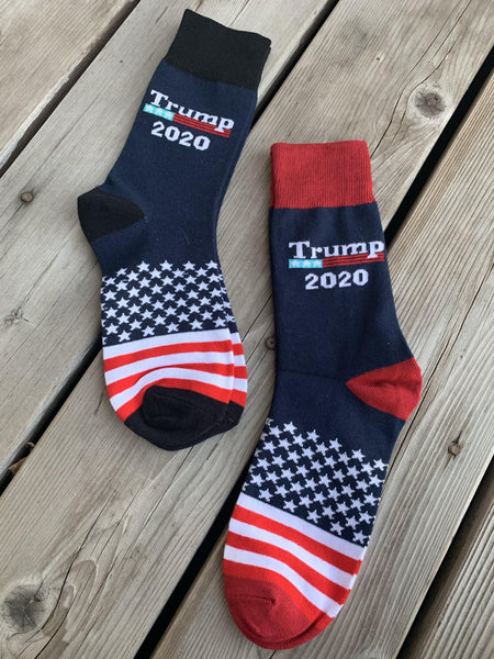 Socks { Trump 2020 } Red or blue. Knit. USA. American flag. Stars and Stripes. - Stacy's Pink Martini Boutique