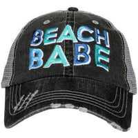 Beach Hats { Beach please } Embroidered • Distressed• Trucker cap, mesh back, adjustable velkro, hole for pony. Unisex. - Stacy's Pink Martini Boutique