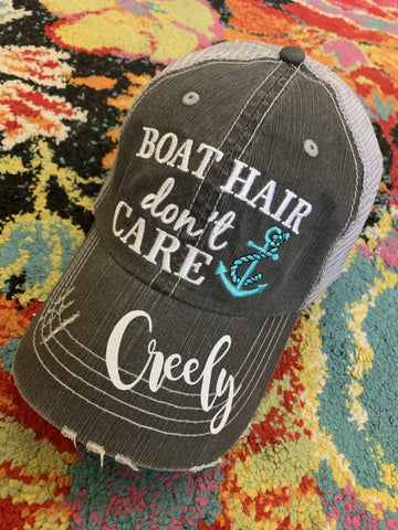 Boating Hats { Boat hair don't care } Teal or pink anchor. Embroidered •  Trucker cap • - Stacy's Pink Martini Boutique