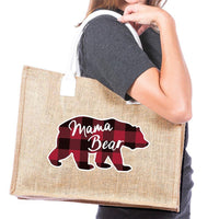 Mama bear | Jute tote bag | Pocket inside | Red and black buffalo plaid bear - Stacy's Pink Martini Boutique