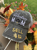 Hat { Hunting hair dont care } Gray with black and red buffalo plaid deer. Embroidered gray distressed trucker cap with adjustable Velcro and hole for pony. - Stacy's Pink Martini Boutique