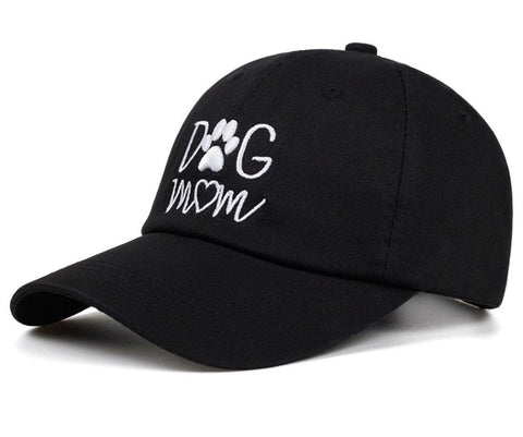 Hats { Dog mom } Black with white embroidered letters. Adjustable cap. Paw print and heart. Women's. - Stacy's Pink Martini Boutique