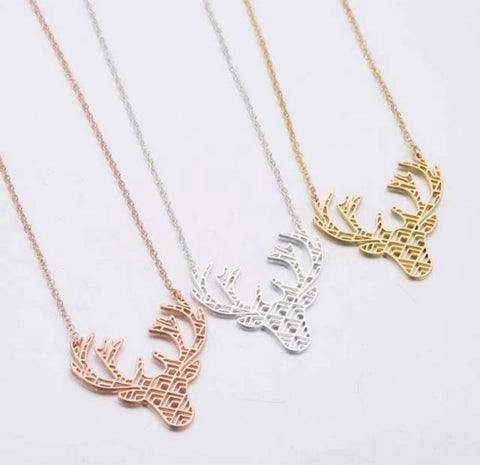 Necklace { Deer } Antlers. Silver. Gold. Rose gold. - Stacy's Pink Martini Boutique