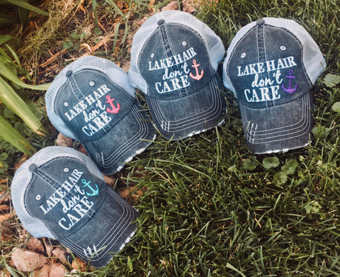 Hats { Lakeaholic } { Lake bum } { Lake hair don't care } { Lake please } { Lake life } - Stacy's Pink Martini Boutique