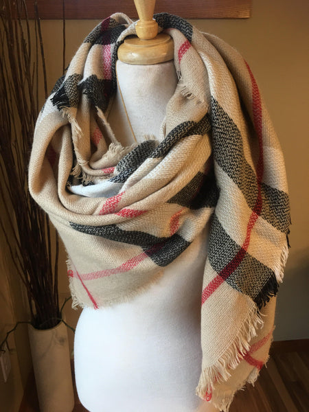 Blanket scarf { Classic check } Camel - Stacy's Pink Martini Boutique
