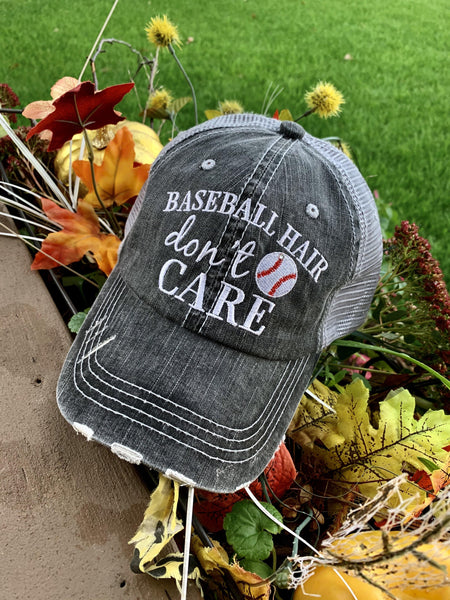 Baseball hat! Baseball hair don't care | Embroidered gray distressed trucker cap - Stacy's Pink Martini Boutique