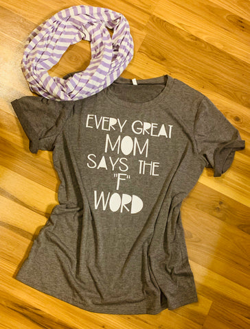 Shirt. Scarf.  { Every great mom says the F word } Fun. Fabulous. Funky. Faith. Fresh. Forgive. - Stacy's Pink Martini Boutique