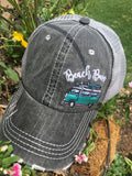 Hat { Beach Bum } 3 styles / colors. Seashells. Embroidered distressed trucker caps with adjustable velcro and hole for pony. - Stacy's Pink Martini Boutique