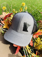 Hats { Minnesota } Gray trucker cap black mesh back adjustable snapback. Choose any state. Unisex. - Stacy's Pink Martini Boutique