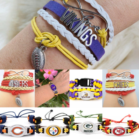 Bracelets { Football } Kansas City Chiefs. San Francisco 49ers. Minnesota Vikings. Green Bay Packers. Pittsburgh Steelers. Chicago Bears. More! - Stacy's Pink Martini Boutique